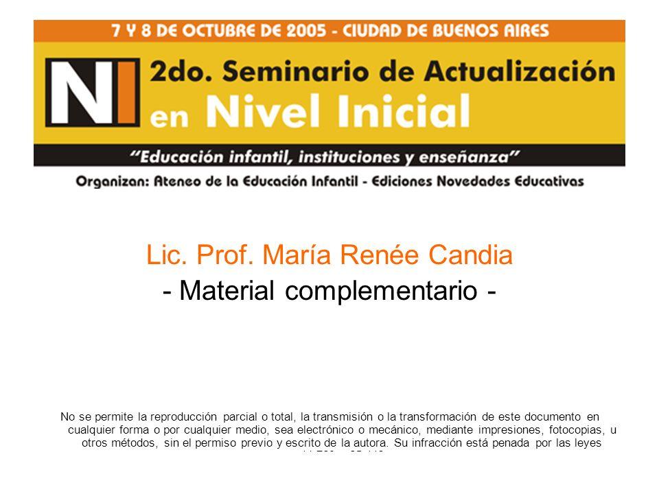 Lic. Prof. María Renée Candia - Material complementario -