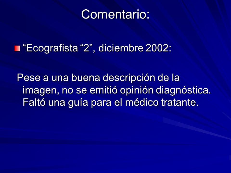 Comentario: Ecografista 2 , diciembre 2002: