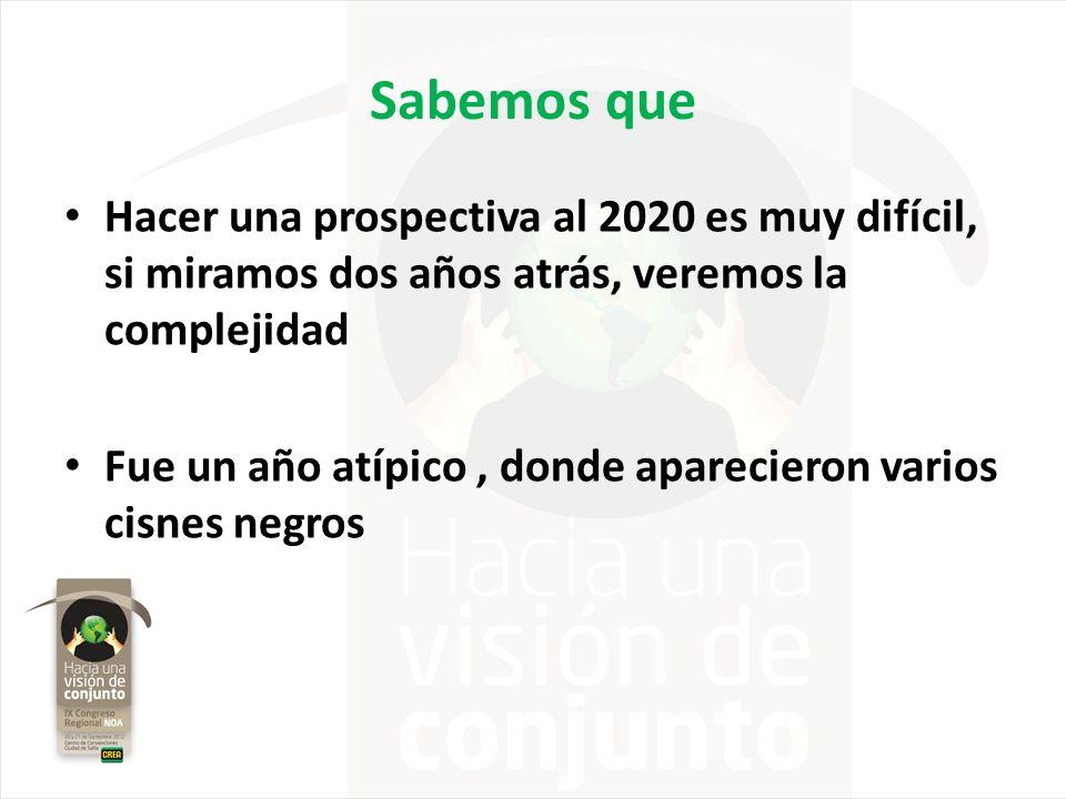 Sabemos que Hacer una prospectiva al 2020 es muy difícil, si miramos dos años atrás, veremos la complejidad.
