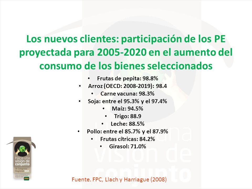 Los nuevos clientes: participación de los PE proyectada para 2005-2020 en el aumento del consumo de los bienes seleccionados