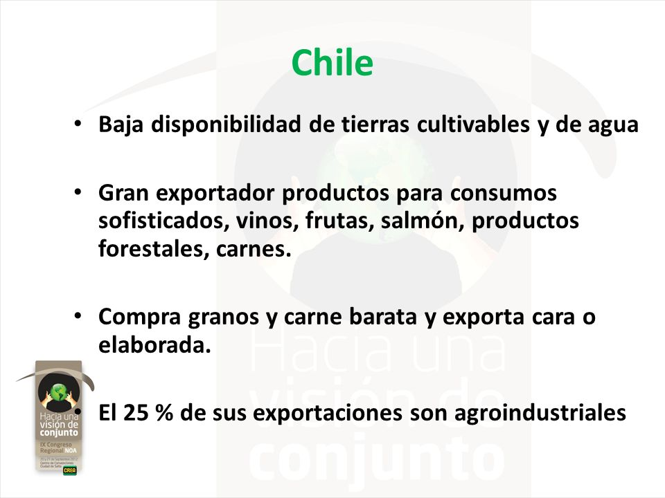 Chile Baja disponibilidad de tierras cultivables y de agua