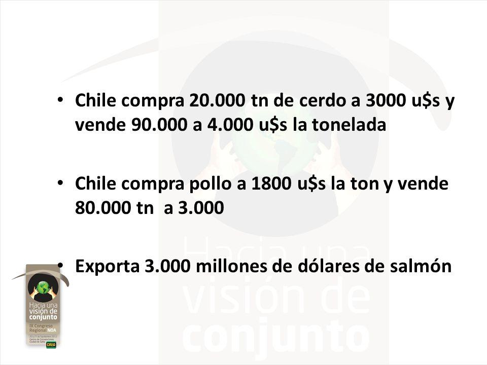 Chile compra 20. 000 tn de cerdo a 3000 u$s y vende 90. 000 a 4