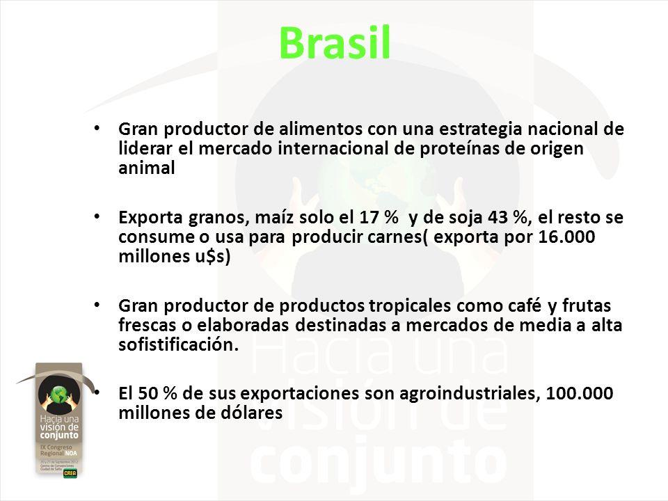 Brasil Gran productor de alimentos con una estrategia nacional de liderar el mercado internacional de proteínas de origen animal.