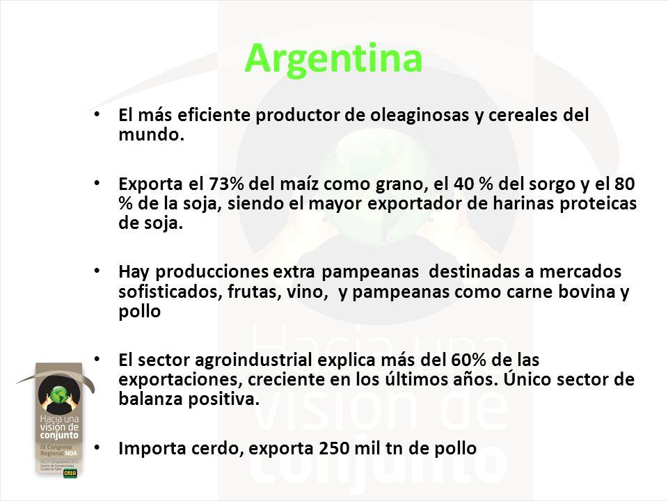 Argentina El más eficiente productor de oleaginosas y cereales del mundo.