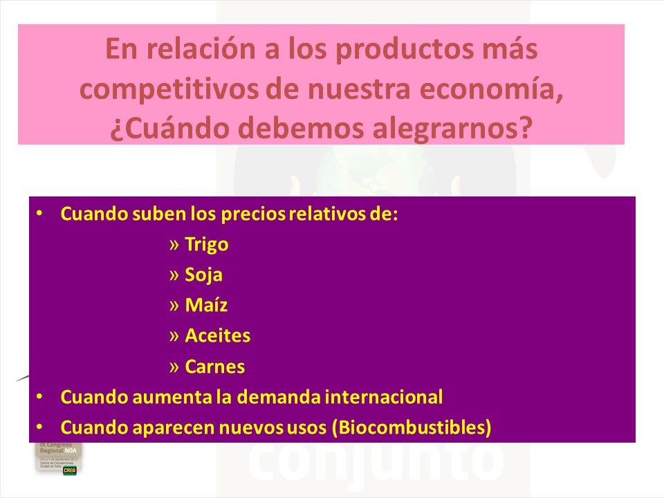 En relación a los productos más competitivos de nuestra economía, ¿Cuándo debemos alegrarnos