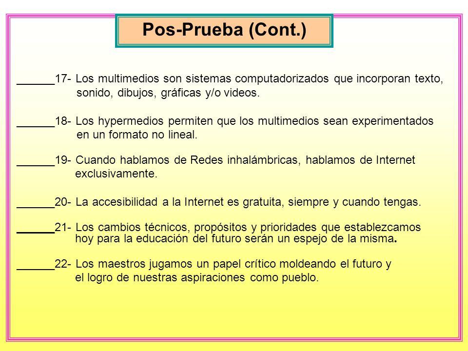 Pos-Prueba (Cont.) ______17- Los multimedios son sistemas computadorizados que incorporan texto, sonido, dibujos, gráficas y/o videos.