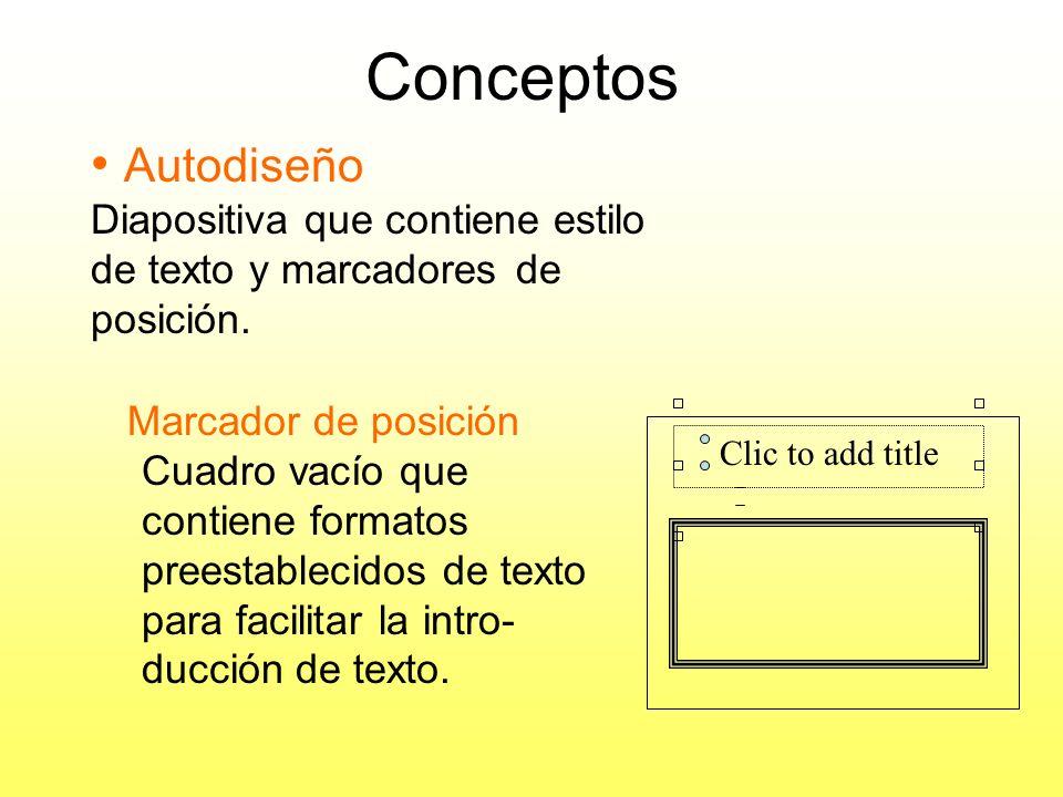Conceptos Autodiseño. Diapositiva que contiene estilo de texto y marcadores de posición.