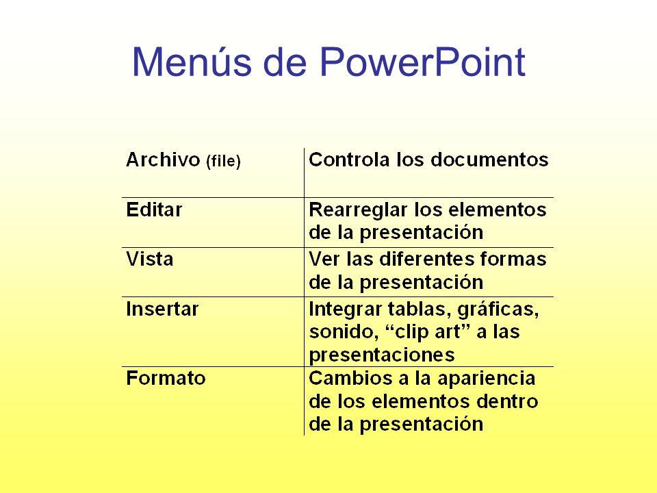 Menús de PowerPoint