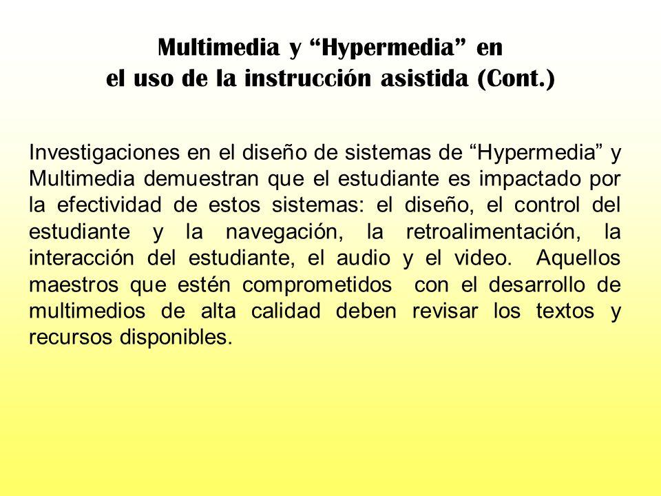 Multimedia y Hypermedia en el uso de la instrucción asistida (Cont.)