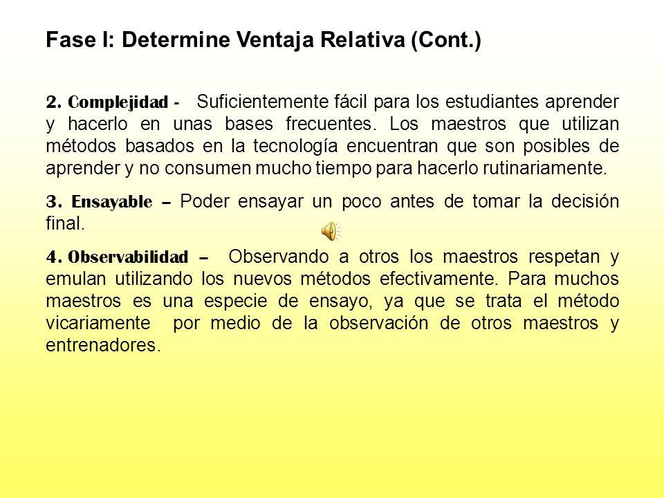 Fase I: Determine Ventaja Relativa (Cont.)
