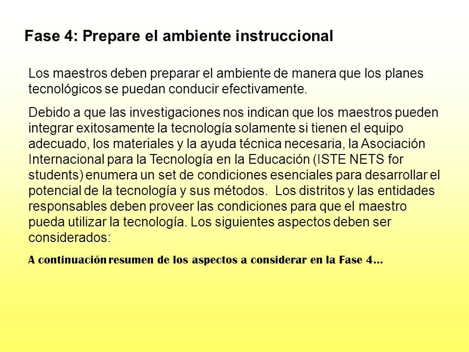 Fase 4: Prepare el ambiente instruccional