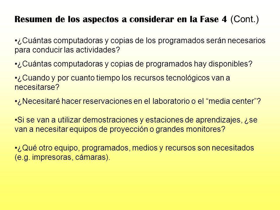 Resumen de los aspectos a considerar en la Fase 4 (Cont.)