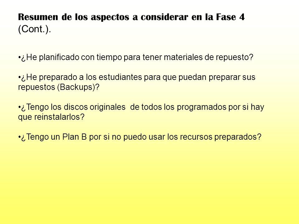 Resumen de los aspectos a considerar en la Fase 4 (Cont.).