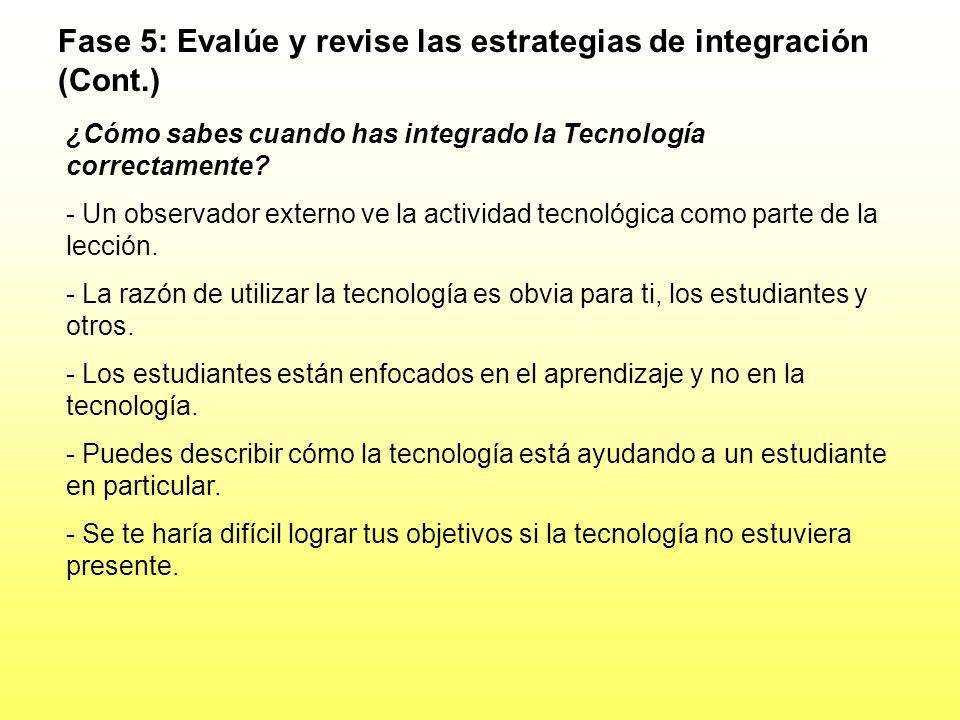 Fase 5: Evalúe y revise las estrategias de integración (Cont.)