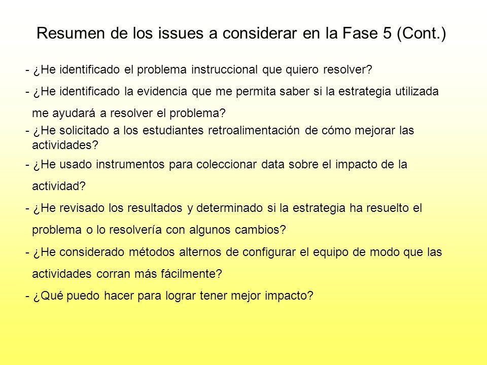 Resumen de los issues a considerar en la Fase 5 (Cont.)