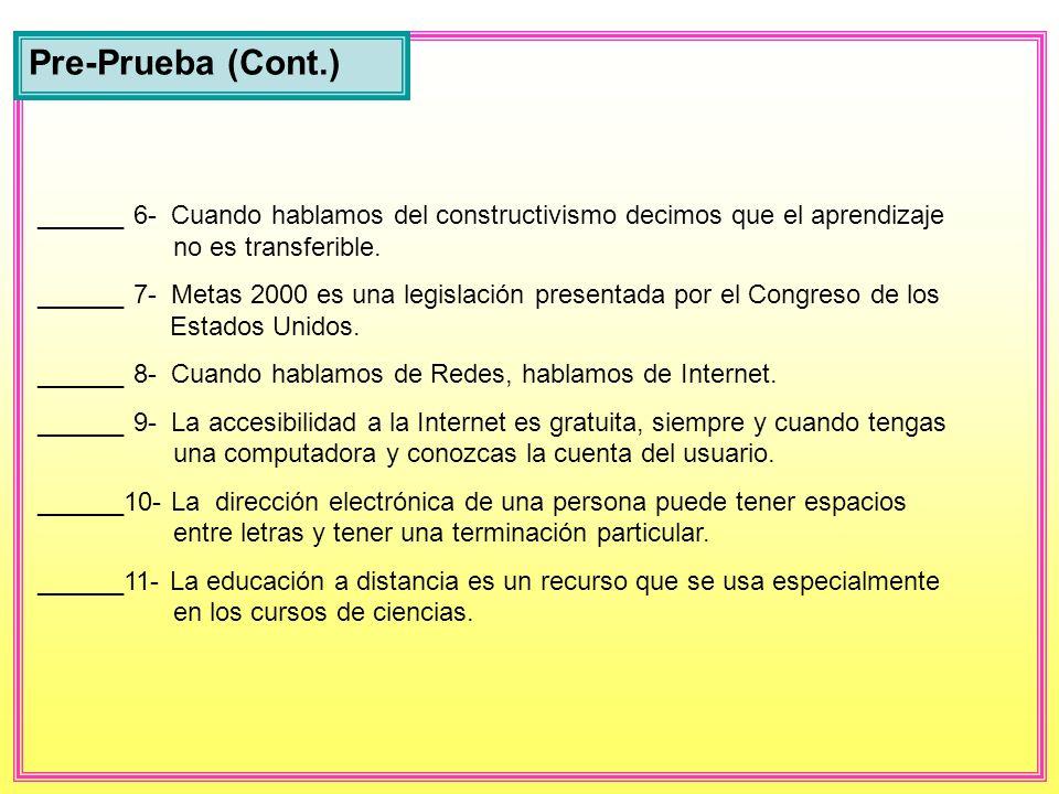 Pre-Prueba (Cont.) ______ 6- Cuando hablamos del constructivismo decimos que el aprendizaje no es transferible.
