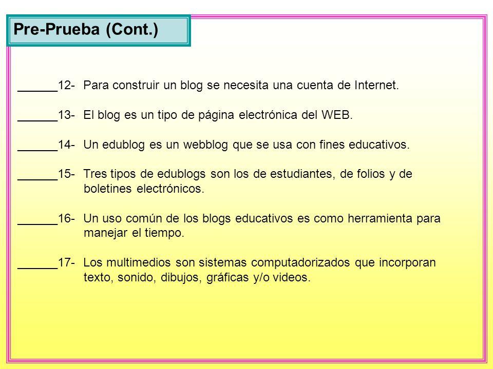 Pre-Prueba (Cont.) ______12- Para construir un blog se necesita una cuenta de Internet.