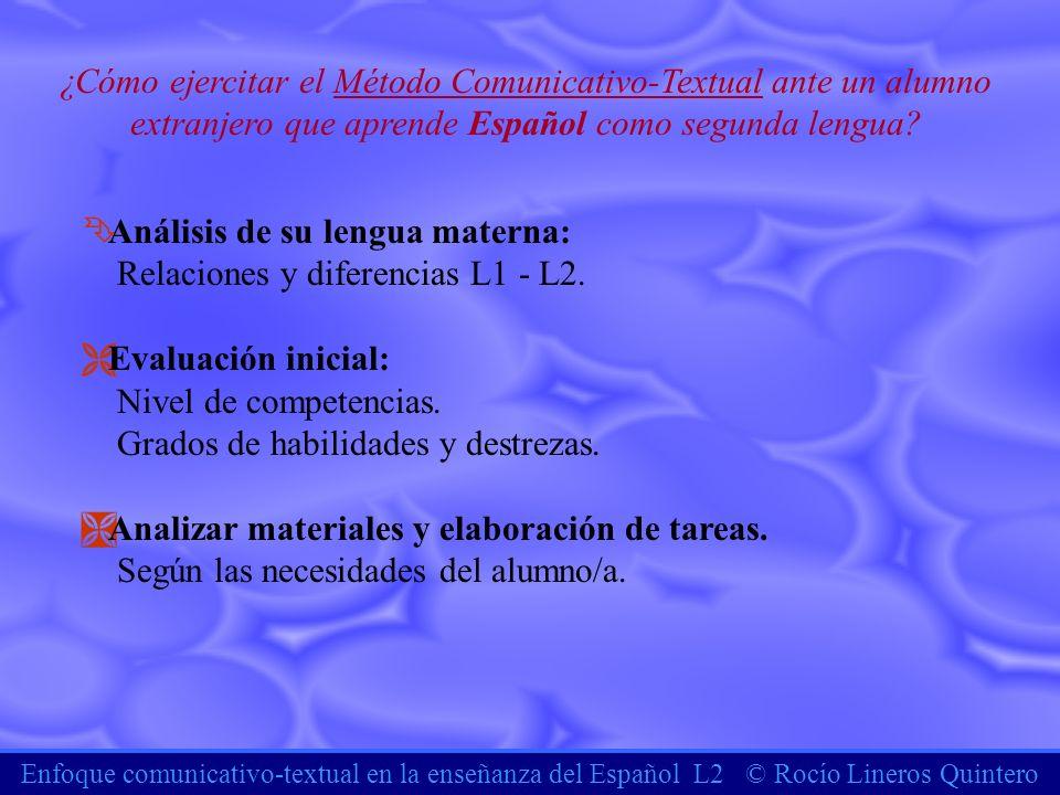 Análisis de su lengua materna: Relaciones y diferencias L1 - L2.