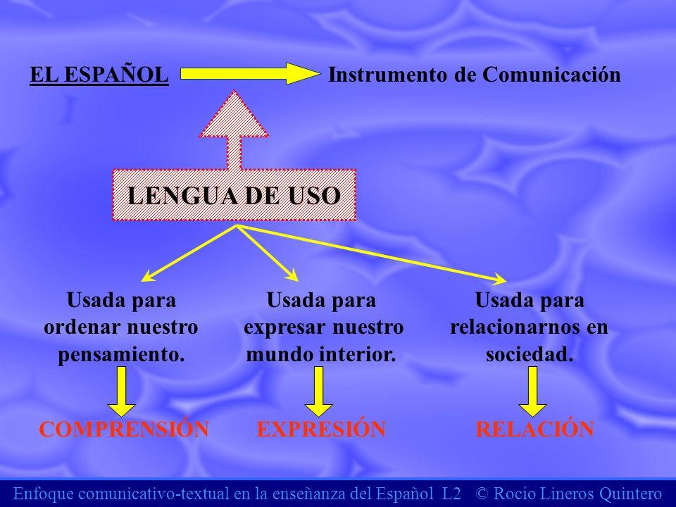 LENGUA DE USO EL ESPAÑOL Instrumento de Comunicación Usada para