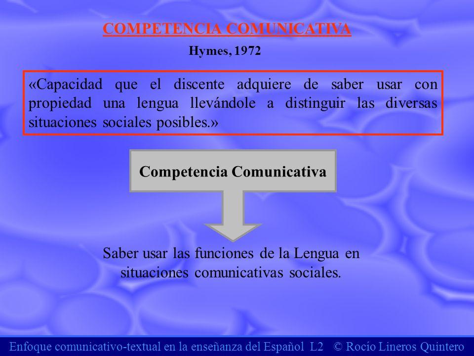 COMPETENCIA COMUNICATIVA Competencia Comunicativa