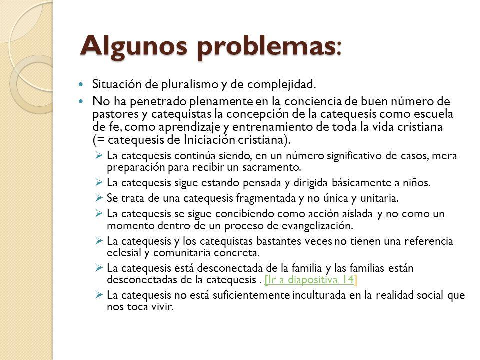 Algunos problemas: Situación de pluralismo y de complejidad.