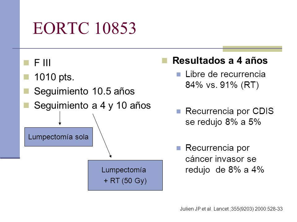 EORTC 10853 Resultados a 4 años F III 1010 pts. Seguimiento 10.5 años