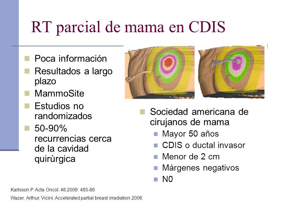 RT parcial de mama en CDIS