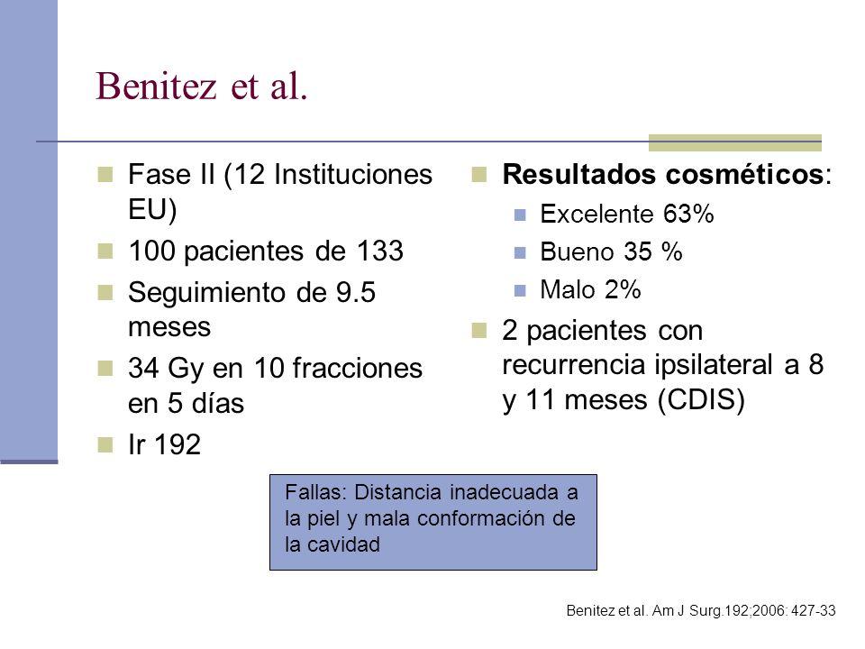 Benitez et al. Fase II (12 Instituciones EU) 100 pacientes de 133