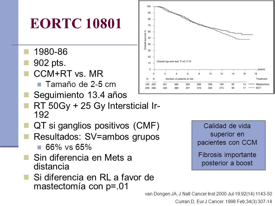 EORTC 10801 1980-86 902 pts. CCM+RT vs. MR Seguimiento 13.4 años