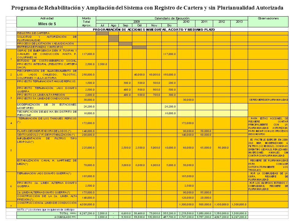 Programa de Rehabilitación y Ampliación del Sistema con Registro de Cartera y sin Plurianualidad Autorizada