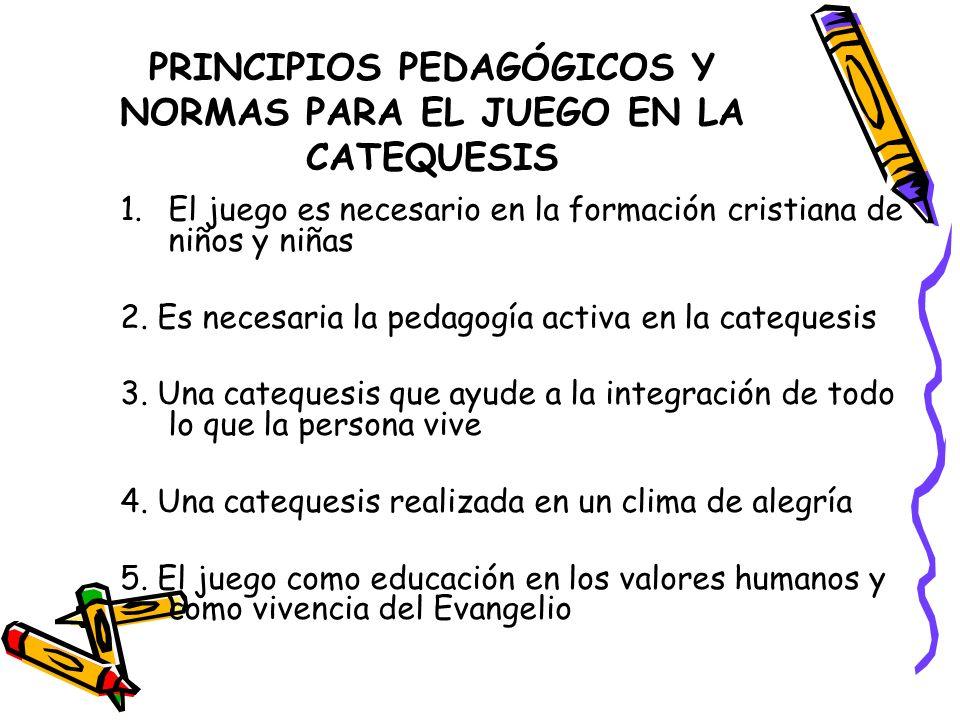 PRINCIPIOS PEDAGÓGICOS Y NORMAS PARA EL JUEGO EN LA CATEQUESIS
