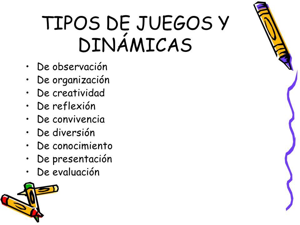 TIPOS DE JUEGOS Y DINÁMICAS