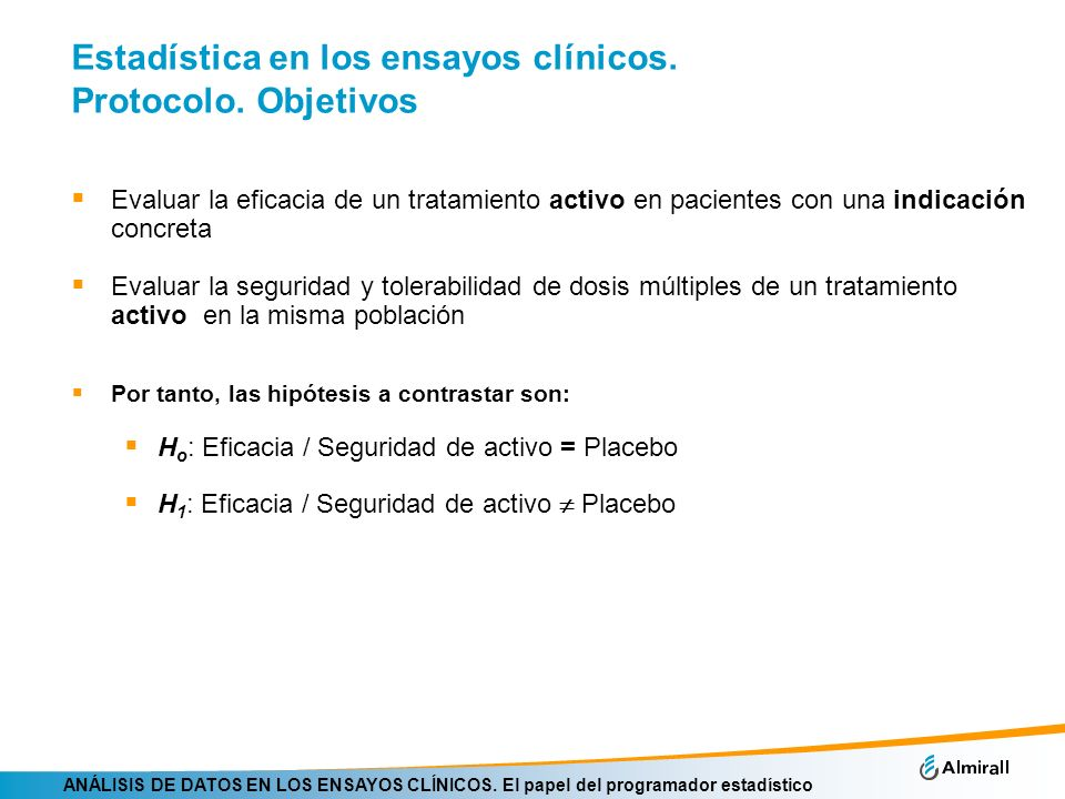 Estadística en los ensayos clínicos. Protocolo. Objetivos