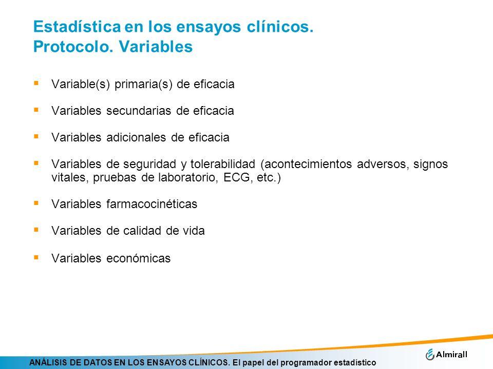 Estadística en los ensayos clínicos. Protocolo. Variables