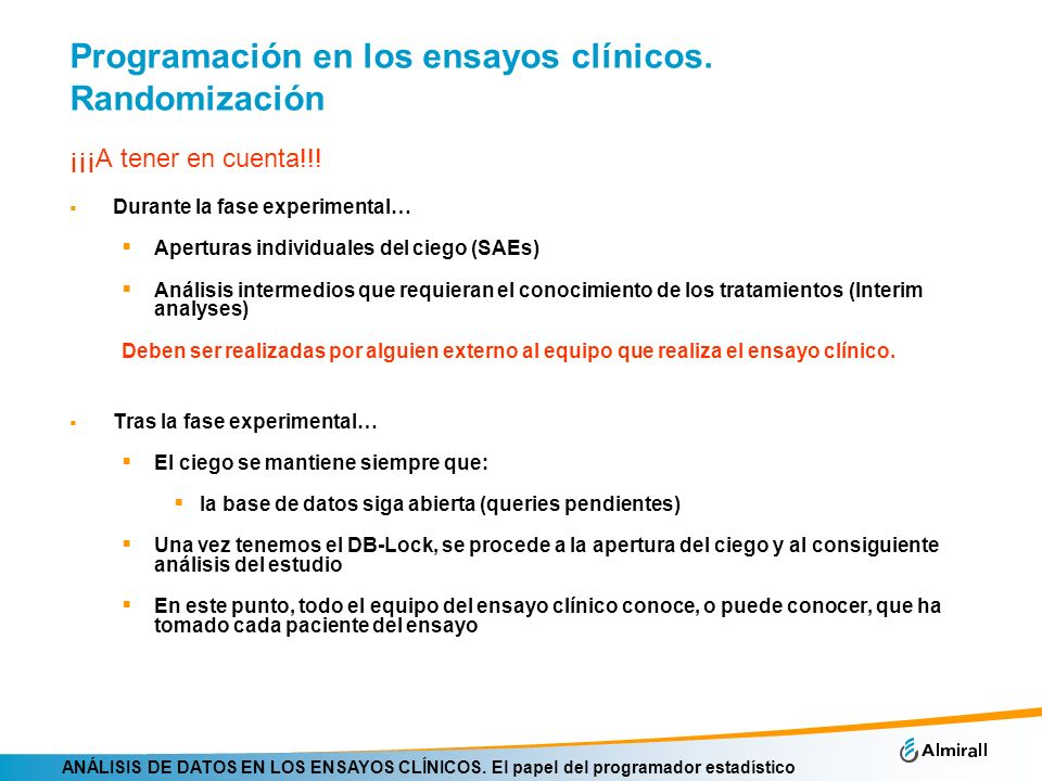 Programación en los ensayos clínicos. Randomización