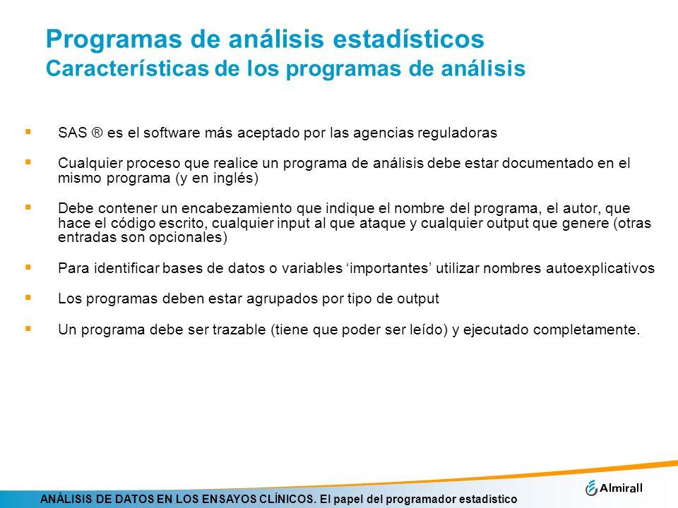 Programas de análisis estadísticos Características de los programas de análisis