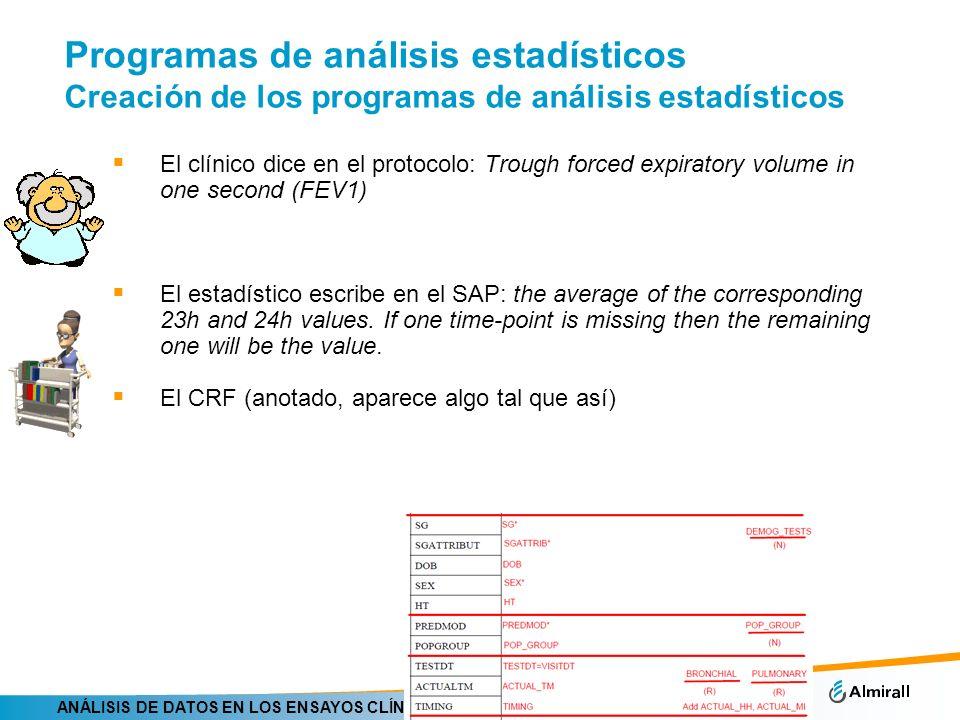 Programas de análisis estadísticos Creación de los programas de análisis estadísticos