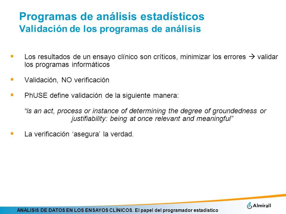 Programas de análisis estadísticos Validación de los programas de análisis