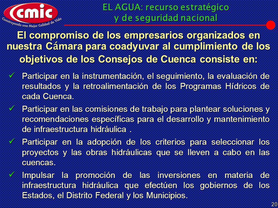 El compromiso de los empresarios organizados en nuestra Cámara para coadyuvar al cumplimiento de los objetivos de los Consejos de Cuenca consiste en: