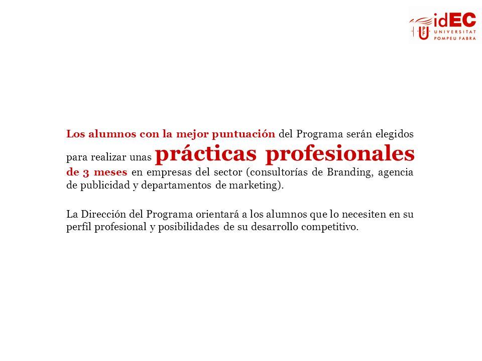 Los alumnos con la mejor puntuación del Programa serán elegidos para realizar unas prácticas profesionales de 3 meses en empresas del sector (consultorías de Branding, agencia de publicidad y departamentos de marketing).
