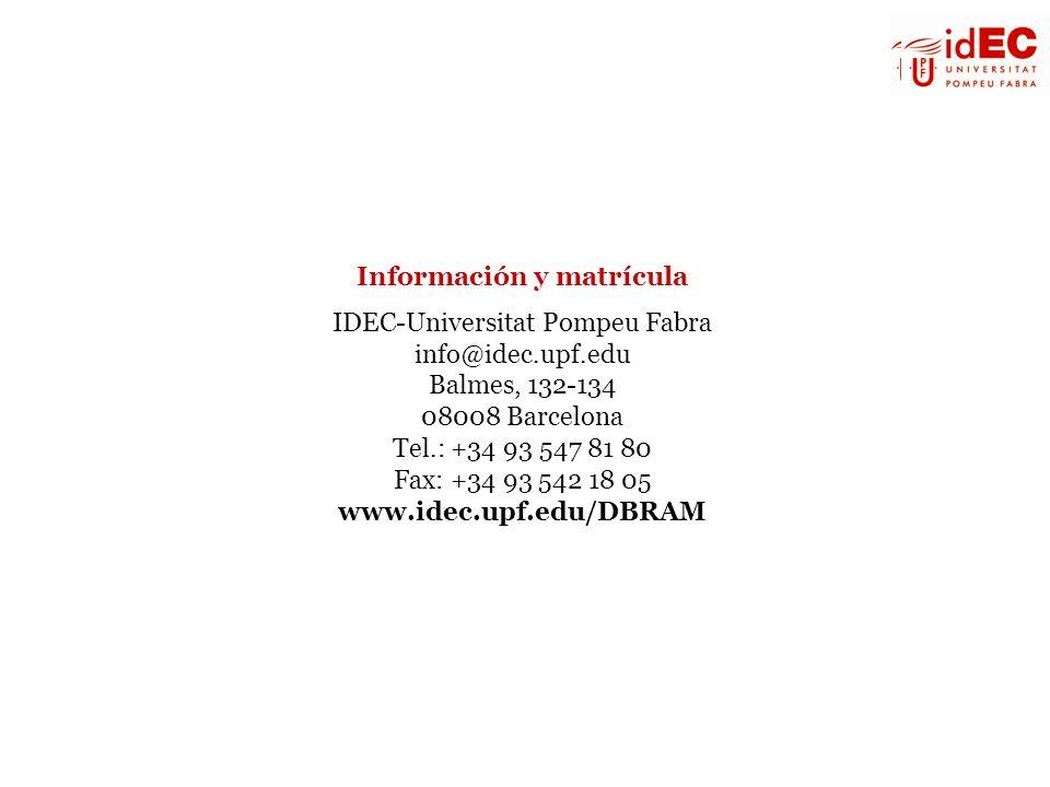 Información y matrícula