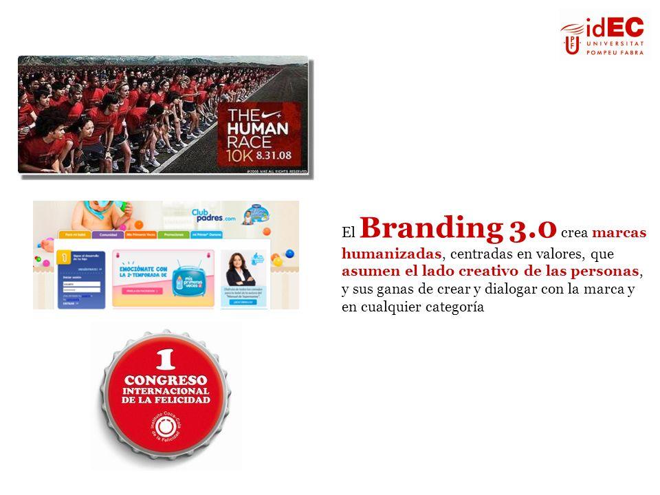 El Branding 3.0 crea marcas humanizadas, centradas en valores, que asumen el lado creativo de las personas, y sus ganas de crear y dialogar con la marca y en cualquier categoría