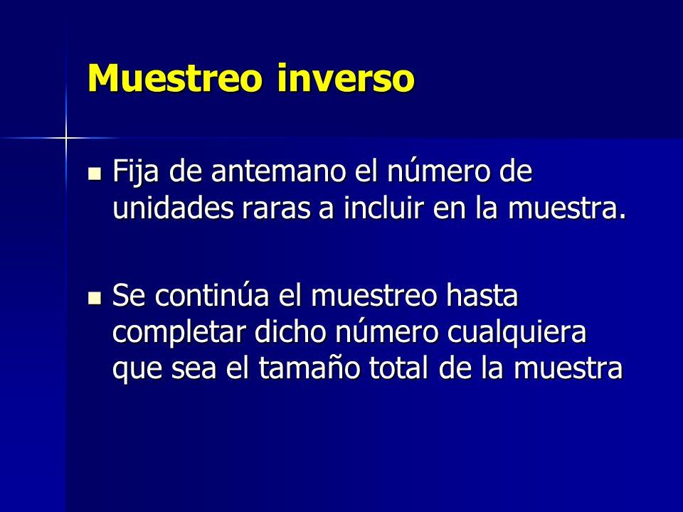 Muestreo inverso Fija de antemano el número de unidades raras a incluir en la muestra.