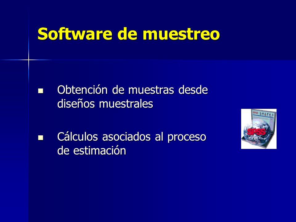 Software de muestreo Obtención de muestras desde diseños muestrales