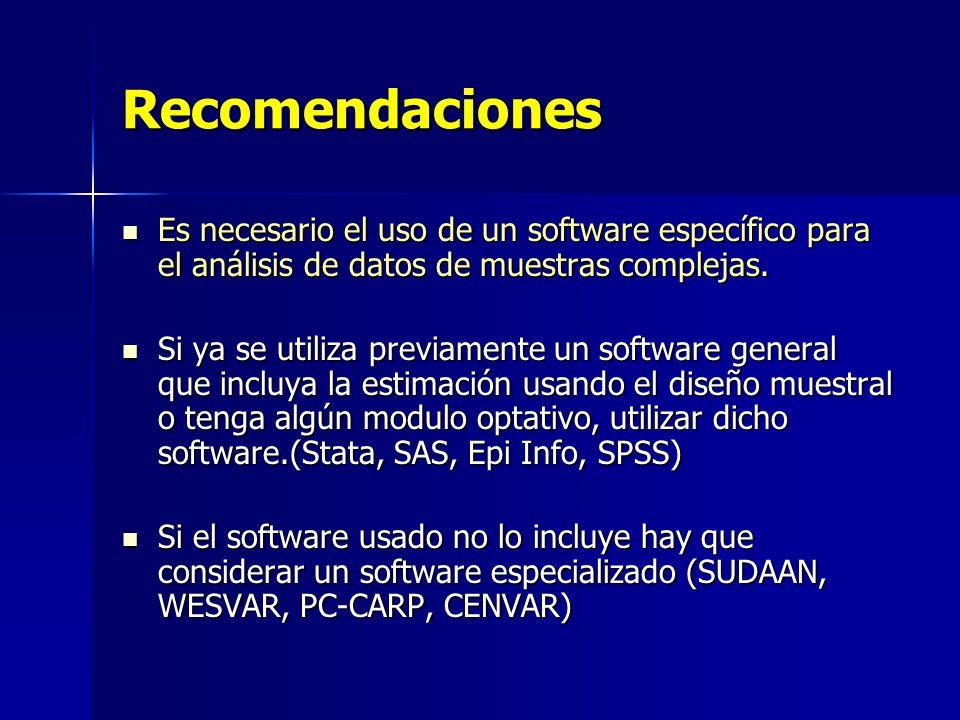 Recomendaciones Es necesario el uso de un software específico para el análisis de datos de muestras complejas.