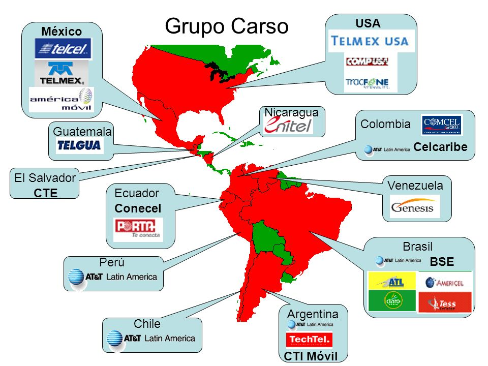 Grupo Carso USA México Nicaragua Colombia Celcaribe Guatemala