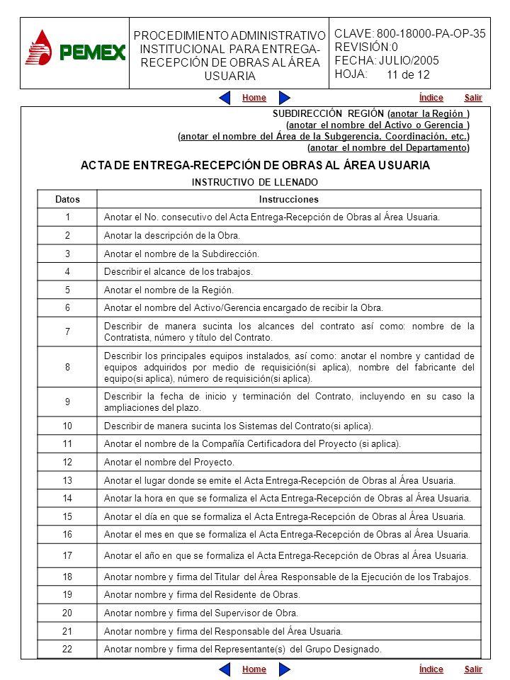 ACTA DE ENTREGA-RECEPCIÓN DE OBRAS AL ÁREA USUARIA