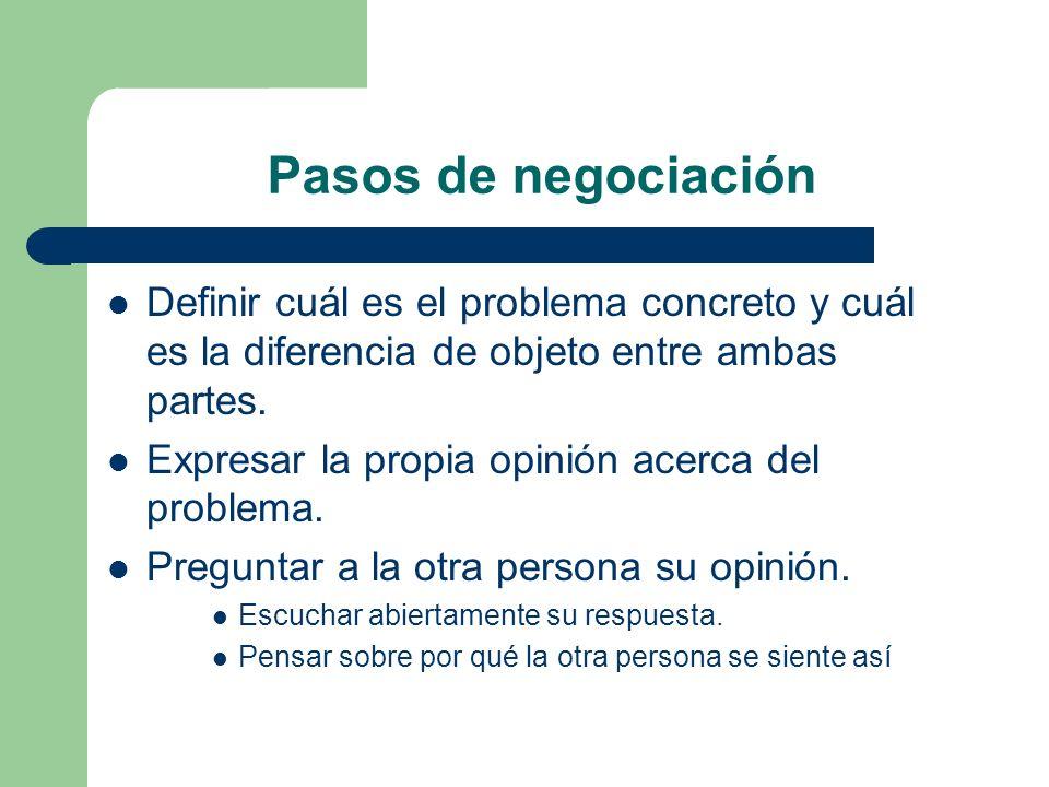 Pasos de negociación Definir cuál es el problema concreto y cuál es la diferencia de objeto entre ambas partes.