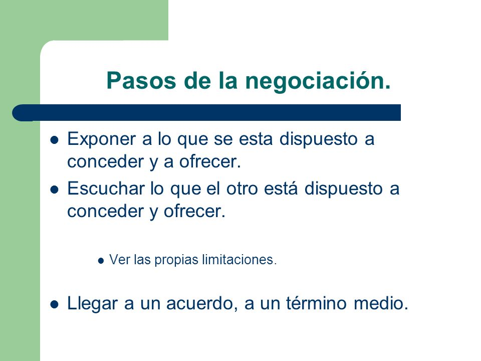 Pasos de la negociación.