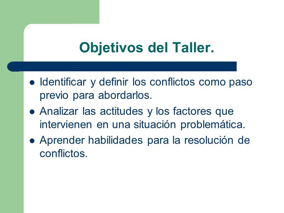 Objetivos del Taller. Identificar y definir los conflictos como paso previo para abordarlos.
